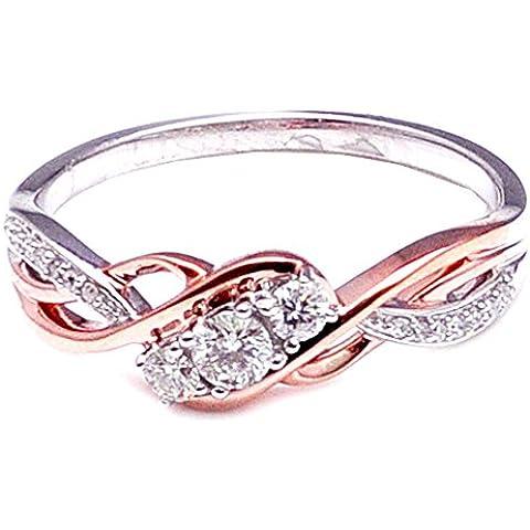 MidwestJewellery.com occhielli, da donna, composto da 3 pietre di diamante solitario 1/4Cttw Rose-Anello in oro bianco 10 K (& 0,25Cttw)
