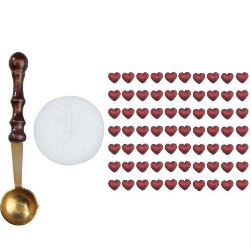 1 Satz Herzform Siegellack Perlen Kerze Packung Mini Schmelzlöffel Weinrot
