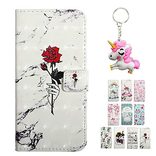 Rose-Otter Kompatibel für Apple iPhone 5 5S SE Hülle Leder Handyhülle Wallet Flip Case Kartenfach Klappbar Stoßfest Schutzhülle Tasche mit 3D Muster - Marmor Rose Rot