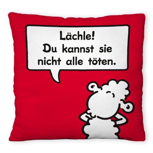 Sheepworld 42668 Plüsch-Kissen, Motiv Lächle! Du kannst sie nicht alle töten., kleines Zierkissen, 25 cm x 25 cm