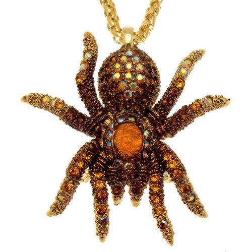 Acosta - Cristal Swarovski topacio - tono de oro collar de araña gótica/broche - regalo de la joyería de traje