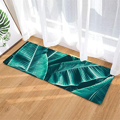 GIRLXV Grüne Blattmustermatte Küche Saugfähige rutschfeste Bodenmatte Bad rutschfeste Teppich rutschfeste Matte Heimtextilien Matte Türmatte Saugfähige Matte