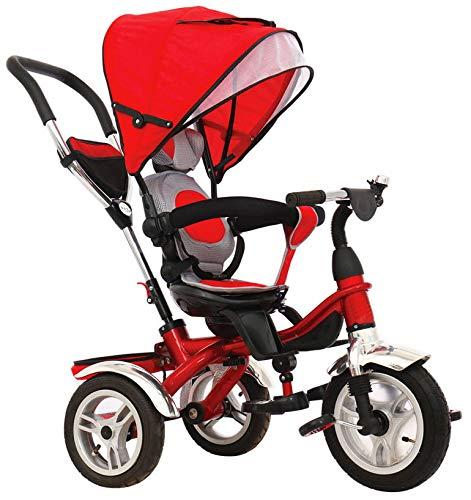 kidfun Passeggino Triciclo con Sedile Girevole 360 Deluxe Rosso