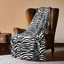 MANTAS PLAIDS BARCELO- Manta Plaid Zebra 130X160cm para cama o sofá