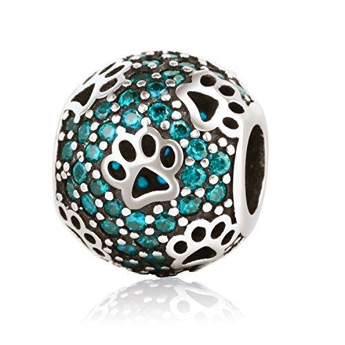 Amatolove Jewellery Abalorio para pulsera de plata de ley 925 y circonitas, piedra natal de diciembre sintética, diseño de patas de mascotas, color azul