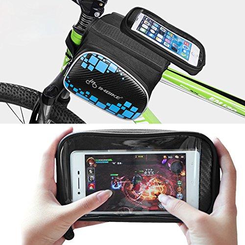 Touch Bildschirm Mountain Bike Fahrrad Lenkertasche vorne Tube Bag wasserdichte Satteltasche Handy Tasche mit Handy Fall schwarz/blau