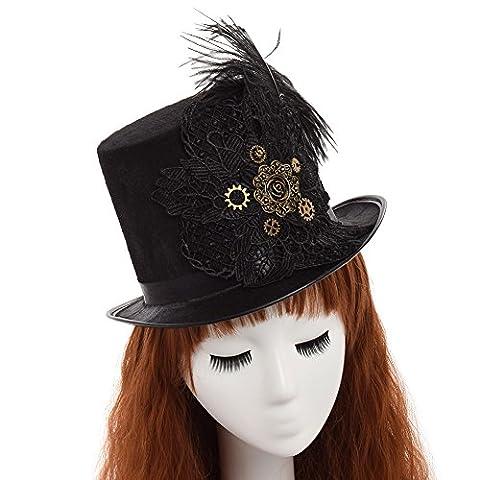 Costumes De Luxe Pour Homme Halloween - GRACEART Steampunk Haut Chapeau Broderie Dentelle Plumes