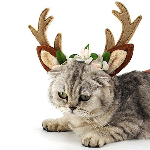 GGG gorro de disfraz de mascota gato perro cuernos de Navidad Cap mascota perro ropa cuernos de reno gorro de invierno cachorro de perro gato diadema Navidad cuello size S