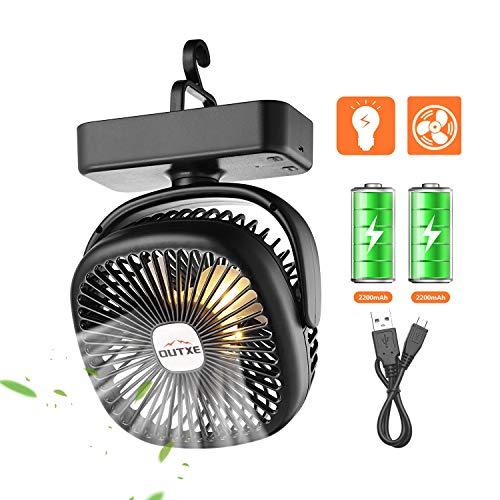 OUTXE Camping Ventilator mit Nachtlicht Zelte Ventilator USB Ventilator mit 4400mAh Wiederaufladbarer Batterie