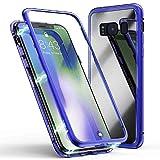 Jonwelsy Coque pour Samsung Galaxy S7 Edge, Technologie d'adsorption Magnétique Forte, Ultra Fin Métal Bumper Frame Coque Arrière en Verre Trempé Etui Housse pour Samsung Galaxy S7 Edge (Bleu)