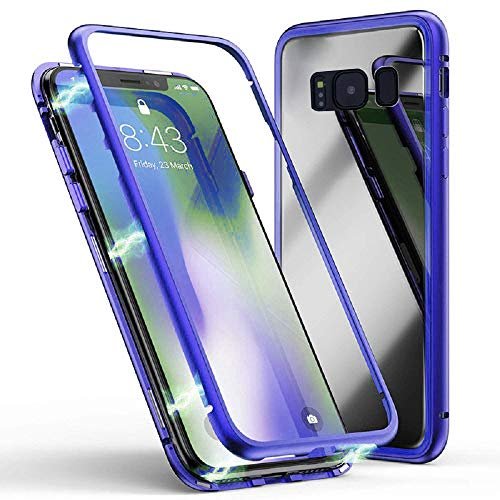 NiuSY Kompatibel mit Samsung Galaxy S7 Edge Hülle, Stark Magnetische Adsorption Technologie, Jonwelsy Ultra dünn Metallrahmen Transparent Gehärtetes Glas Rückseite Case Cover für S7 Edge (Bleu) - Bleu-glas