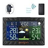 ZEEPIN Funkwetterstation mit LCD Farbdisplay inkl. Außensensor (Temperatur & Luftfeuchtigkeitsanzeige | Datumsanzeige| Wettervorhersage-Piktogramm/Tendenzanzeige | Wecker) Wetterstation
