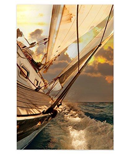 Leinwand Segeln HSH 016 Leinwandbild Yacht Canvas Wohnraum Dekoration (60 x 90 cm)