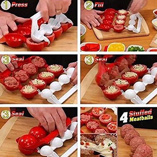 Deasengmins Accesorios Especiales de Cocina para el hogar Fabricante de albóndigas de plástico Bolas de Pescado Moldes Bricolaje Herramientas de Cocina de albóndigas rellenas - Rojo y Blanco