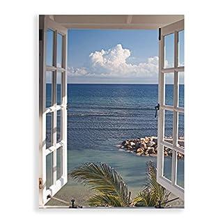 Artland Qualitätsbilder I Glasbilder Deko Glas Bilder 60 x 80 cm Landschaften Fensterblick Foto Blau G3FP Fenster zum Paradies