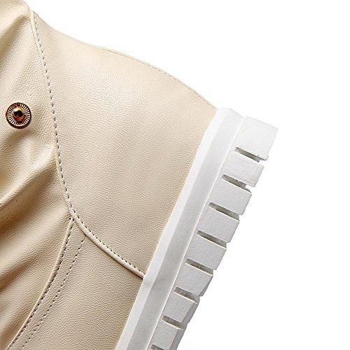 AgooLar Femme PU Cuir à Talon Correct Rond Couleur Unie Tire Bottes Beige
