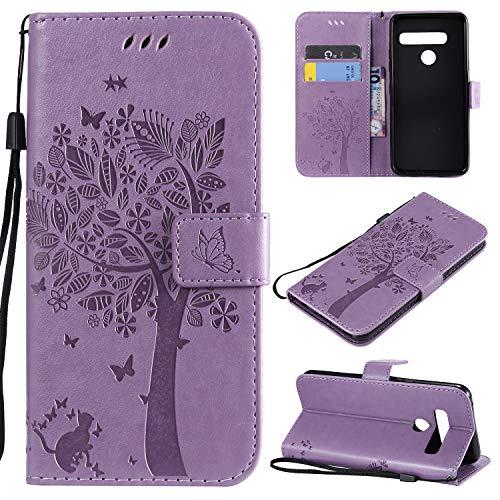 CMID LG G8 ThinQ Hülle, PU Leder Brieftasche Handytasche Flip Bookcase Schutzhülle Cover [Ständer][Handschlaufe] für LG G8 ThinQ (Violett)
