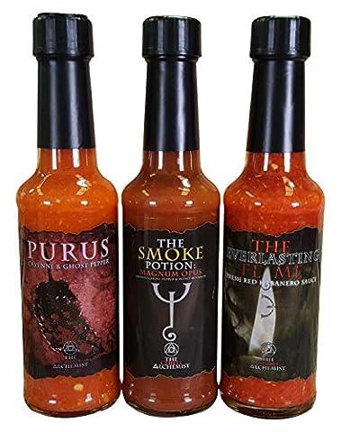 The Chilli Alchemist Purus + Magnum Opus + The Everlasting Flame chilli sauce box set