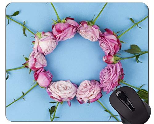 Mausunterlage Rutschfeste Naturkautschuk-Rechteck-Mausunterlagen, rosa Blumen-Rosen-Blumen-Stillleben - genähte Ränder