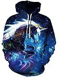 Loveternal Herren 3D Druck Kapuzenpul Einhorn Hoodie Langarm Fleece Pullover Sweatshirt für Teen Jungen Mädchen L/XL