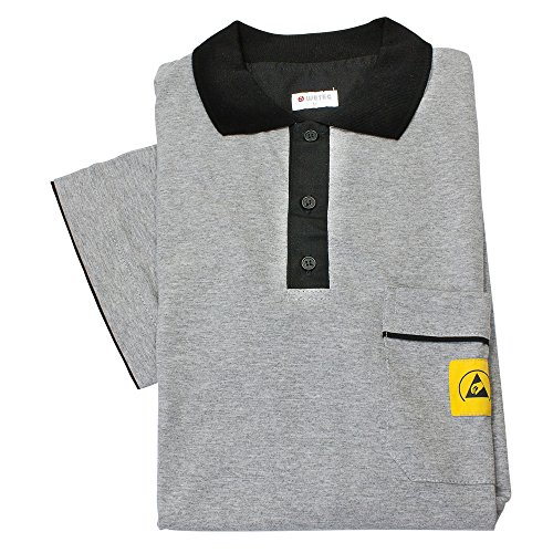 Wetec ESD-Polo-Shirt light, mit schwarzem Kragen, Größe XXXL, grau