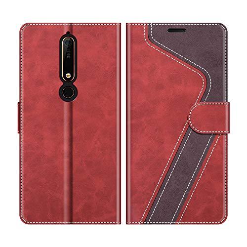 MOBESV Nokia 6.1 Hülle Leder, Nokia 6.1 Tasche Lederhülle Wallet Case Ledertasche Handyhülle Schutzhülle für Nokia 6.1 Version 2018, Modisch Rot