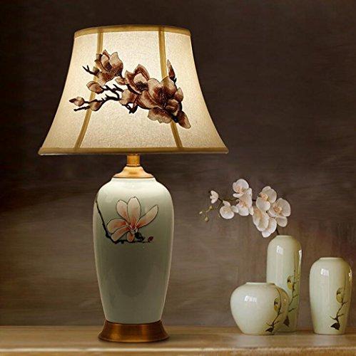 51vREcS02OL BEST BUY UK #1Aoligei Chinesisch Tuch Keramik Lampen von Hand bemalt Studie Leselampen Wohnzimmer Schlafzimmer Bett Tischlampe 15*64cm price Reviews uk