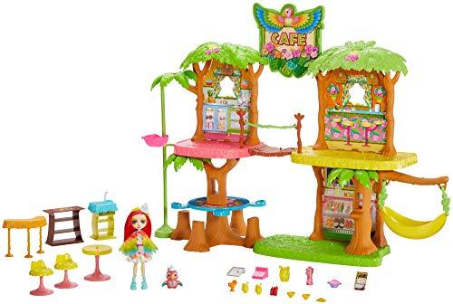 Enchantimals GFN59 - Dschungelwald Café Spielset mit Papagei Puppe und Tier, Puppen Spielzeug ab 4 Jahren