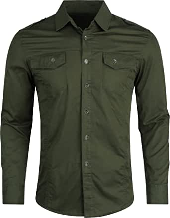 Mens Long Sleeve Shirt Slim Fit Button Down Casual Cargo Shirts Military Style Tactical Retro Top