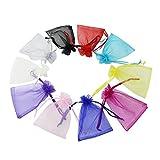 Time to Sparkle - 50 Bolsas de organza, 10colores, para regalos de boda, para joyas o como bolsas de embalaje