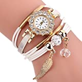 Uhren Damen, HUIHUI Geflochten Armbanduhren Günstige Uhren Wasserdicht Beliebte Casual Analoge Quarz Uhr Luxus Armband Coole Uhren Lederarmband Mädchen Frau Uhr (Weiß)