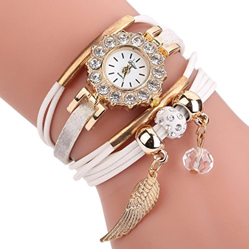 Uhren Damen, HUIHUI Geflochten Armbanduhren Günstige Uhren Wasserdicht Beliebte Casual Analoge Quarz Uhr Luxus Armband Coole Uhren Lederarmband Mädchen Frau Uhr (Weiß) (G-shock-watch-weiß-grün)