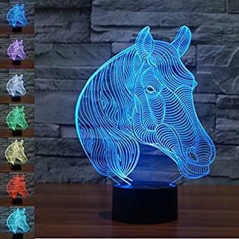 Jinson well 3D pferd Nachtlicht Lampe optische Nacht licht Illusion 7 Farbwechsel Touch Switch Tisch Schreibtisch Dekoration Lampen perfekte Weihnachtsgeschenk mit Acryl Flat ABS Base USB Spielzeug (Tisch-spielzeug Licht)