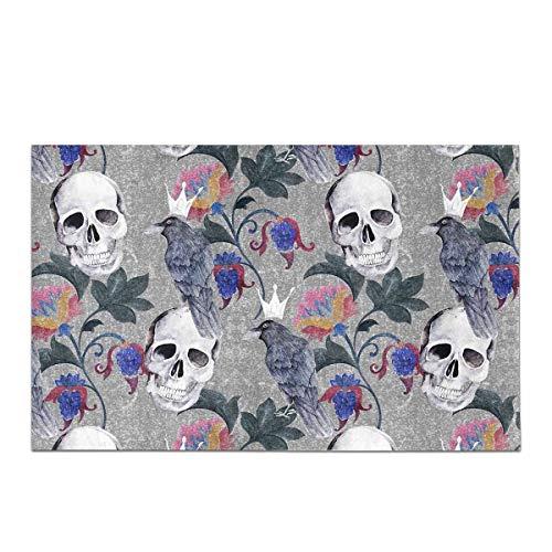 Halloween Aquarell Gothic Floral Paisley Blumen Schädel und Rabe rutschfeste Bad Teppich saugfähige Duschmatte Badematten für Badezimmer Badewanne Home Decor