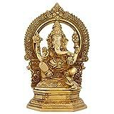 ShalinIndia indischen Kunst Ganesha Statue groß Messing Figuren Hindu Tempel Puja Mandir 24,1cm -3.12kg
