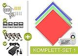 RGB LED Panel Set 62x62cm 48W 24V mehrfarbig bunt RGB Farben einstellbar dimmbar, mit Fernbedienung, Wand- und Deckenhalter, Seilaufhängung und Klammern als Einbau- Aufbauleuchte, Pendelleuchte Komplettset von LongLife LED GmbH by HK