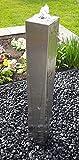 garten-wohnambiente Säulenbrunnen eckig 80 cm Edelstahl matt gebürstet Komplettset Säule Wasserspiel