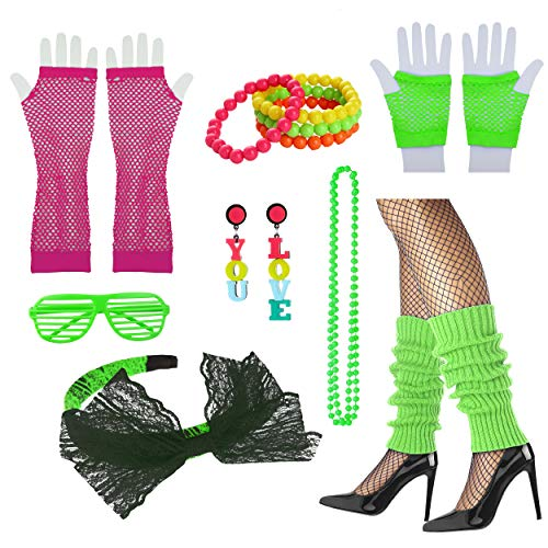 8IGHTEEN COSTUME 80er Jahre ausgefallene Outfit Kostüm Accessoires Set für 1980er Jahre Thema Party Supplies (Green)