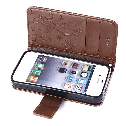 "ARTLU® iPhone 6S Bookstyle Étui Fleur Housse en Cuir Case à rabat pour iPhone 6 Plus / 6S 4.7"" Coque de protection Portefeuille TPU Case Brun L3"