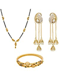 Aadita Traditional Stunning Gold Plated Pearl Jhumki Earrings Combo Set Of Mangalsutra And Bangles For Women