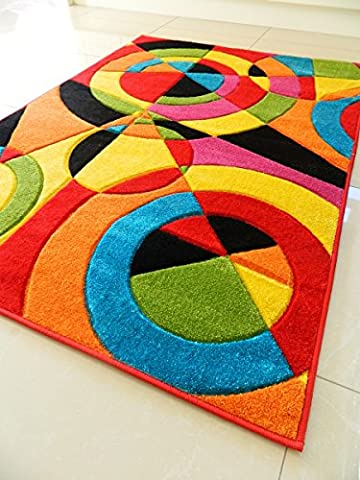 MULTI COLOURED TARGET DESIGN FUNKY BRIGHT MODERN THICK SOFT HEAVY