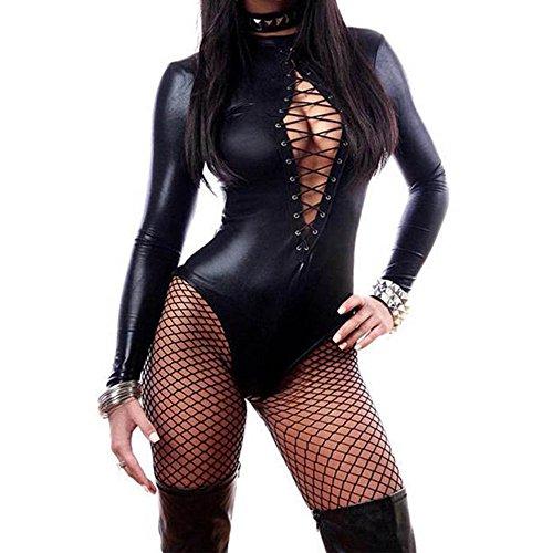 Leder Bodysuit Langarm Lace-up Club Overall Jumpsuit Kostüm PU Sexy Teddy Dessous (Einfache Catwoman Kostüm)