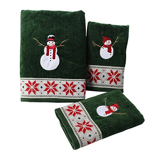 Handtuch-Set Weihnachten Schneemann 2 Handtuch und 1 Badetücher