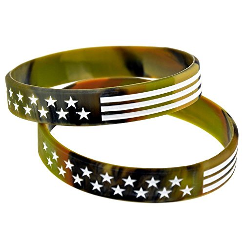 North King Armbänder für Kinder amerikanische Flagge Stars und Stripes Silikon Handgelenk Armband Silikon-Armbänder Fashion Gurt 2er Set Stücke (Stars Stripes-flagge And)