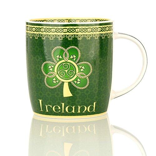 Eburya Shamrock Spiral Mug - Kaffeebecher mit irischem Kleeblatt