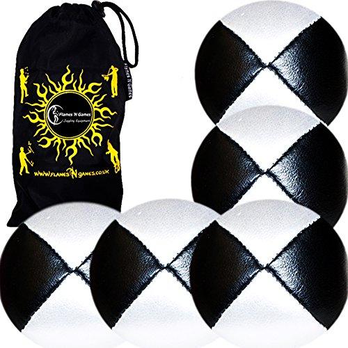 Jonglierbälle 5er Set - Profi Beanbag Bälle aus Glattleder (Leather) + Reisetasche. Set Ideal Für Anfänger Die Auch Für Profis. (Schwarz/Weiß)