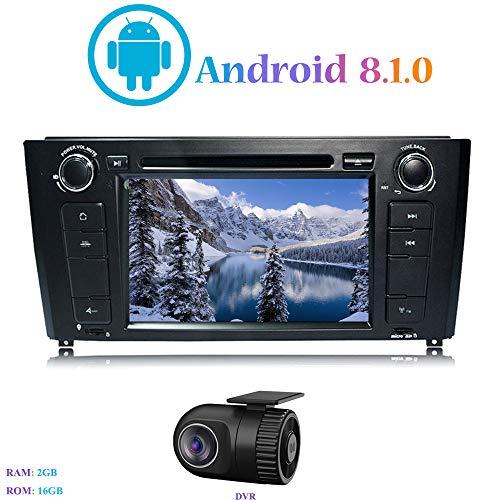 Android 8.1.0 Autoradio, Hi-azul in-Dash 7 Pouces Car Radio Navigation GPS 4-Core Stéréo Voiture avec Lecteur DVD pour BMW 1 Series E81/E82/E88 (2004-2010) (avec DVR)