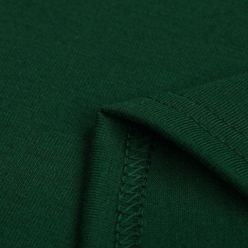 Tefamore Damen Casual Mini Einfarbig kleider , Stretch beiläufiges Kurzarm Rundhals Sommerkleid mit Falten Freizeitkleid Knielang Grün