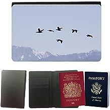 Grand Phone Cases Couverture de passeport // M00141681 Aves de Migración Fly Sky Montañas // Universal passport leather cover