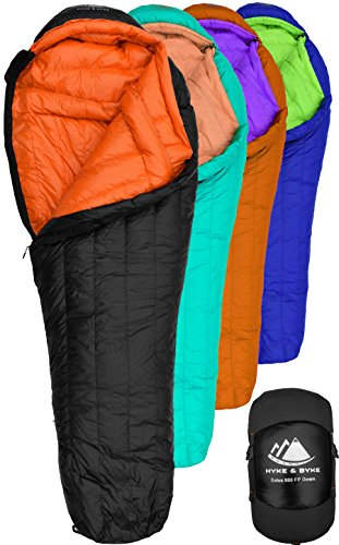 Hyke & Byke 800 Fill Power Goose Down Sleeping Bag - Eolus 15 & 0 Degree F Ultralight Mummy Bags for Backpacking, Cold Weather Camping and Hiking (-15 Degree C (Black/Clementine), Long)